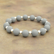 GRAY SILICONE BEADED STRETCH BRACELET #58162