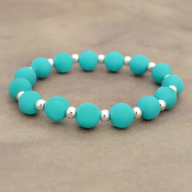 TURQUOISE SILICONE BEADED STRETCH BRACELET #58173