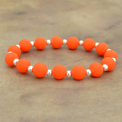 ORANGE SILICONE BEADED STRETCH BRACELET #58172