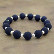 NAVY SILICONE BEADED STRETCH BRACELET #58170