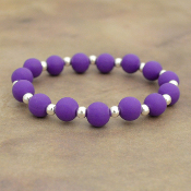 PURPLE SILICONE BEADED STRETCH BRACELET #58168