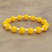 YELLOW SILICONE BEADED STRETCH BRACELET #58167