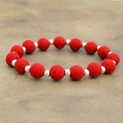BRIGHT RED SILICONE BEADED STRETCH BRACELET #58164