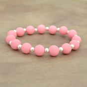 PINK SILICONE BEADED STRETCH BRACELET #58163