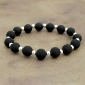 BLACK SILICONE BEADED STRETCH BRACELET #58161