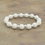 WHITE SILICONE BEADED STRETCH BRACELET #58160