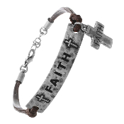 FAITH STAMPED CORD BRACELET #83152-S
