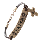 FAITH STAMPED CORD BRACELET #83152-G