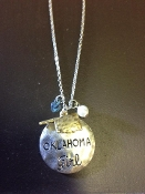 OKLAHOMA GIRL CHARM NECKLACE #N259X169OK-SIL