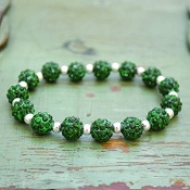 DEEP GREEN MY BLING STRETCH BRACELET #57507