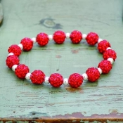 BRIGHT RED MY BLING STRETCH BRACELET #57499