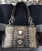 CONCEALED CARRY FAITH HOPE LOVE CROSS HANDBAG #FHL893PT