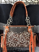 CONCEALED CARRY EMBROIDERED WOVEN HANDBAG #AV893BN