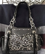CONCEALED CARRY EMBROIDERED WOVEN HANDBAG #AV893BK