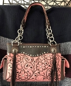 CONCEALED CARRY EMBROIDERED WOVEN HANDBAG #AV893PK