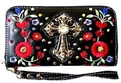 CROSS & FLOWER ZIPPER WALLET #FLW245BK