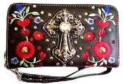 CROSS & FLOWER ZIPPER WALLET #FLW245BN