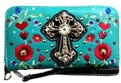 CROSS & FLOWER ZIPPER WALLET #FLW245TQ