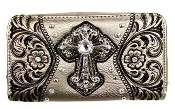 CROSS & EMBROIDERY ZIPPER WALLET #LY245PT