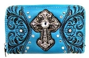 CROSS & EMBROIDERY ZIPPER WALLET #LY245TQ