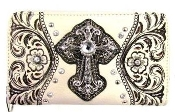 CROSS & EMBROIDERY ZIPPER WALLET #LY245BO