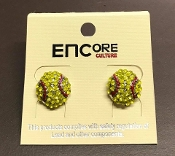CRYSTAL SOFTBALL STUD EARRINGS #EC-0018-3Y