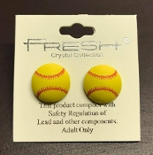 CLAY SOFTBALL STUD EARRINGS #E6409