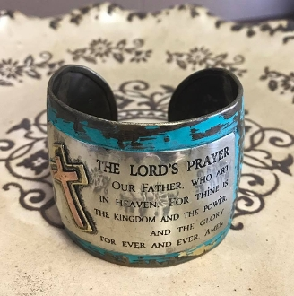 LORD'S PRAYER CUFF BOHEMIAN BANGLE #AB8743-BBPT