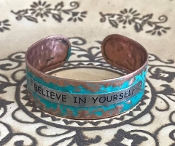 BELIEVE IN YOURSELF HAMMERED CUFF BANGLE #AB8634-TT2