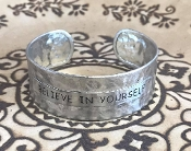 BELIEVE IN YOURSELF HAMMERED CUFF BANGLE #AB8634-S