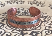 BELIEVE IN YOURSELF HAMMERED CUFF BANGLE #AB8634-TT1