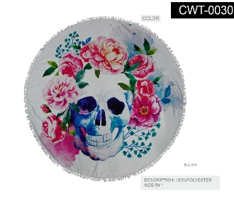 ROUND BEACH TOWEL #CWT-0030-SKULL FLOWERS