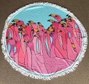 FLAMINGO ROUND BEACH TOWEL #RT-FLAMINGOCROWD