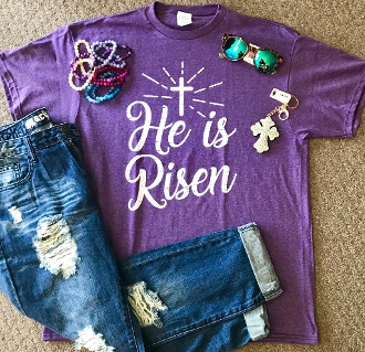 HE IS RISEN PURPLE HEATHER  TSHIRT 8PK $48.00