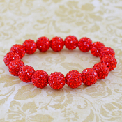 BRIGHT RED BLING IT ON STRETCH BRACELET #57392