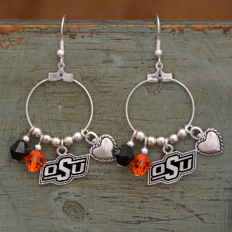 OKLAHOMA STATE COWBOYS HAUTE WIRE EARRINGS #OKS22696