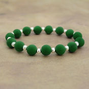 GREEN SILICONE BEADED STRETCH BRACELET #58171
