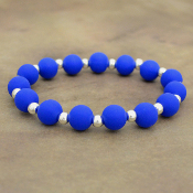 ROYAL BLUE SILICONE BEADED STRETCH BRACELET #58169
