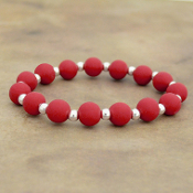 DEEP RED SILICONE BEADED STRETCH BRACELET #58165