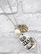 GO TEAM BASKETBALL NECKLACE #9835N-BASKETBALL
