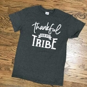 THANKFUL FOR MY TRIBE CHARCOAL TSHIRT 8PK $48.00