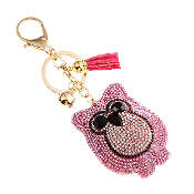 OWL PUFFY CRYSTAL KEYCHAIN #31063RO-G PINK