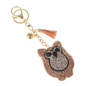 OWL PUFFY CRYSTAL KEYCHAIN #31063LPE-G TAN