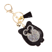OWL PUFFY CRYSTAL KEYCHAIN #31063JT-G BLACK