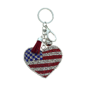 HEART AMERICAN FLAG PUFFY CRYSTAL KEYCHAIN #31201LSI-S