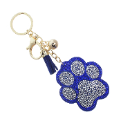 PAW PRINT PUFFY CRYSTAL KEYCHAIN #31311SA-G ROYAL