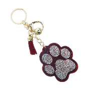 PAW PRINT PUFFY CRYSTAL KEYCHAIN #31311SI-G RED