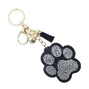 PAW PRINT PUFFY CRYSTAL KEYCHAIN #31311JT-G BLACK