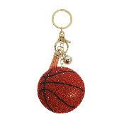 BASKETBALL PUFFY CRYSTAL KEYCHAIN #31252HY-G