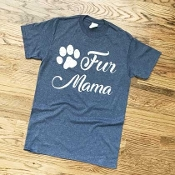 FUR MAMA NAVY HEATHER  TSHIRT 8PK $48.00